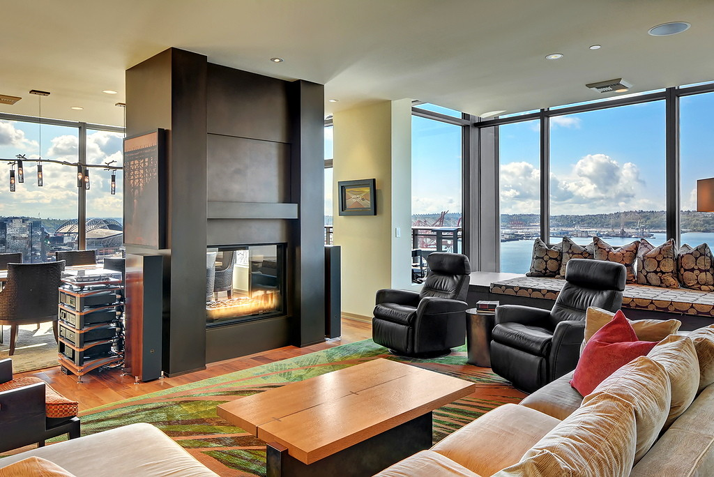 Custom fireplace art/media controlled vestibule